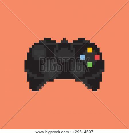 Vintage gamepad. Pixel art style joystick vector illustration