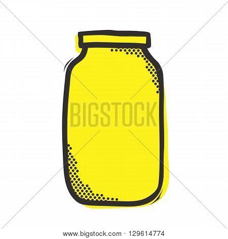 Empty mason jar isolated vector illustration in popart style