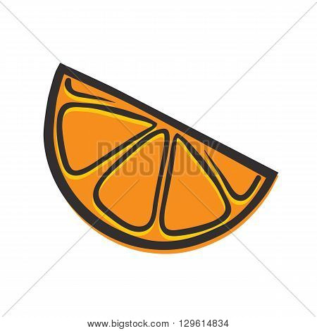 Orange piece isolated vector illustration in popart style