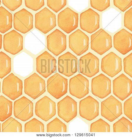 Honeycomb. Seamless pattern. Watercolor drawing, с пустыми ячейками