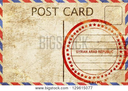 Syrian arab republic, vintage postcard with a rough rubber stamp