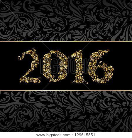 Elegant black and golden banner for year Twenty-Sixteen over ornate floral pattern background