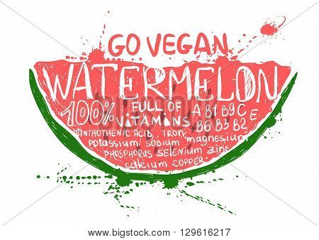 Hand drawn illustration of isolated colorful watermelon slice silhouette on a white background. Typography poster with lettering inside the watermelon.