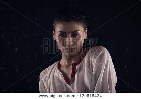 Brunette Girl Under Water Drops