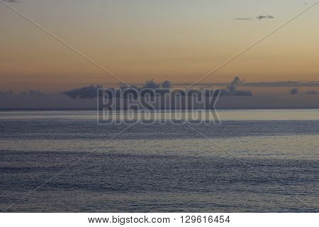 Nature background. Nightfall over the ocean. New Zealand.