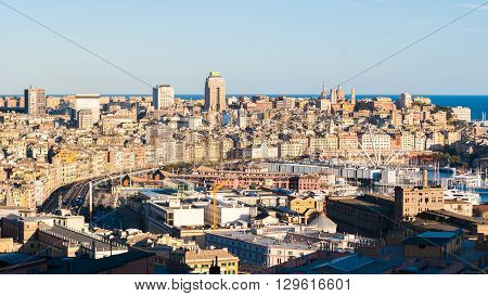 Panoramic view of the city center of Genoa during the golden hour