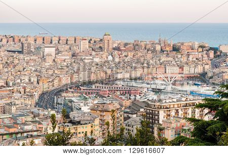 Panoramic view of the city center of Genoa after the sunset