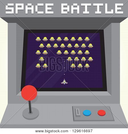 Old school pixel art style ufo arcade machine game cabinet vector illustration
