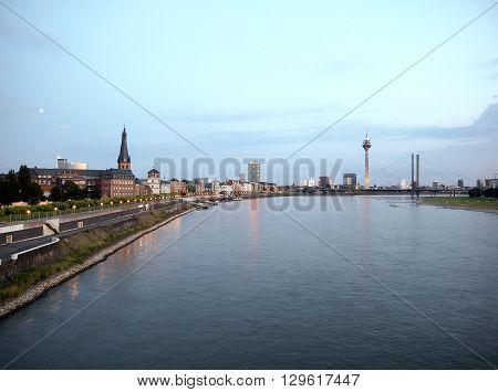 Night View Of Duesseldorf