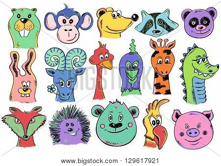 Set of isolated funny cartoon smiling animal face icons. Creative avatars. Colorful animal face characters.