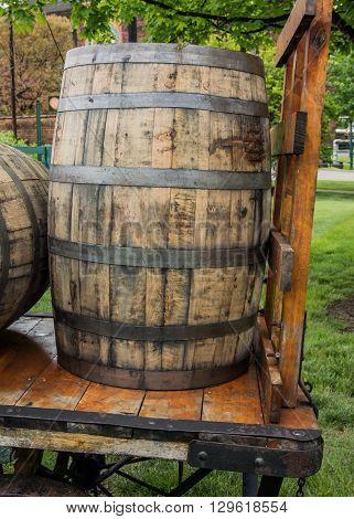 Barrel on Cart at Kentucky bourbon distillery