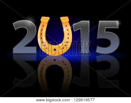 New Year 2015: metal numerals with golden horseshoe instead of zero having weak reflection. Illustration on black background.