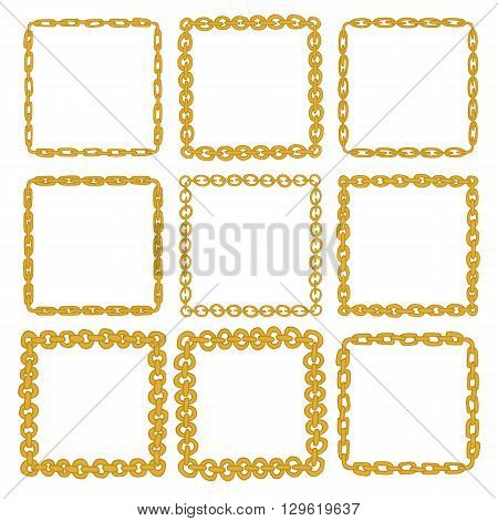 Set of 9 decorative square gold border frames. Golden square wreaths for use as a decorative element, for logo, emblem. Square pattern, square border. These pattern brush you can find in my portfolio