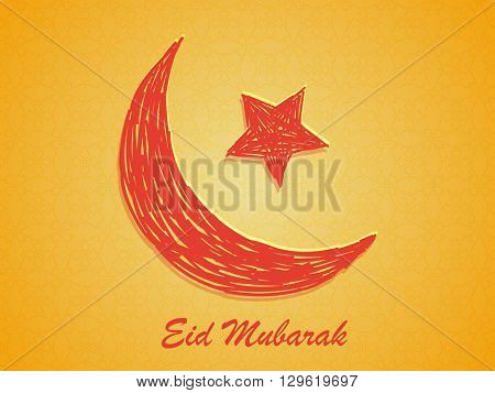 Creative Crescent Moon with Star on floral design decorated shiny yellow background for Islamic Famous Festival, Eid Mubarak celebration.