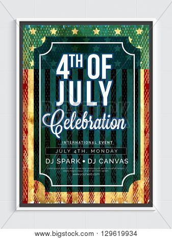 Creative Pamphlet, Banner, Flyer or Invitation design for 4th of July, American Independence Day celebration.
