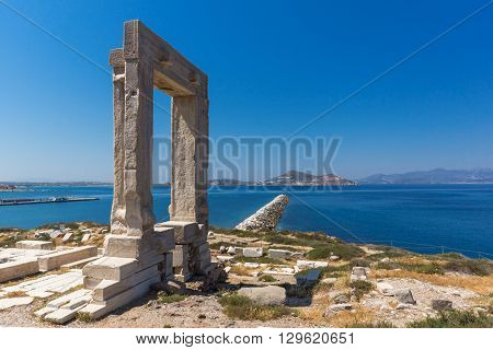Landscape of Portara, Apollo Temple Entrance, Naxos Island, Cyclades, Greece