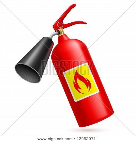 Red fire extinguisher isolated on white background. Fire safety