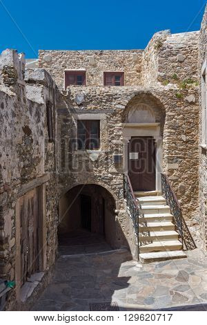 Small street in the fortress in Chora town, Naxos Island, Cyclades, Greece