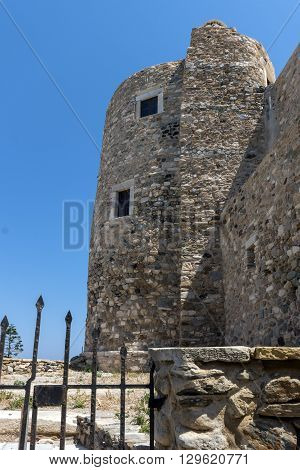 Castle wall of the fortress in Chora town, Naxos Island, Cyclades, Greece