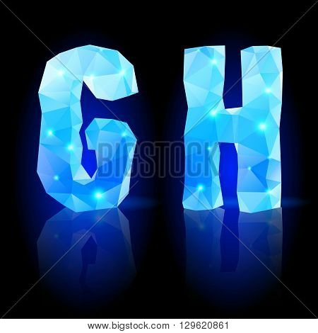 Shiny blue polygonal font. Crystal style G and H letters with reflection on black backround