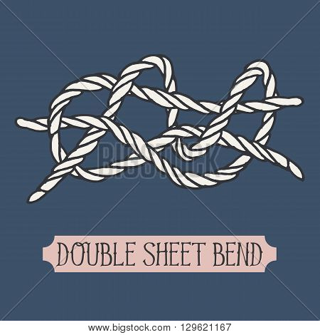 Single illustration of nautical knot. Double Sheet Bend. Sailor knot. Nautical rope sign. Artistic hand drawn element. Marine rope knot. Tying the knot. Graphic design element for invitations, cards