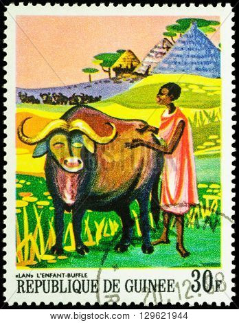 MOSCOW RUSSIA - MAY 12 2016: A stamp printed in Guinea shows Lan african bull and black woman series
