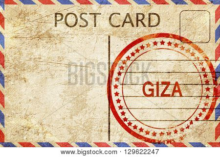 giza, vintage postcard with a rough rubber stamp