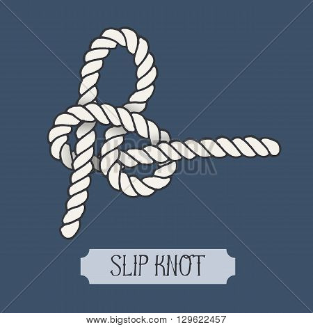 Single illustration of nautical knot. Slip Knot. Sailor knot. Nautical rope sign. Artistic hand drawn element. Marine rope knot. Tying the knot. Graphic design element for invitations, cards, logo