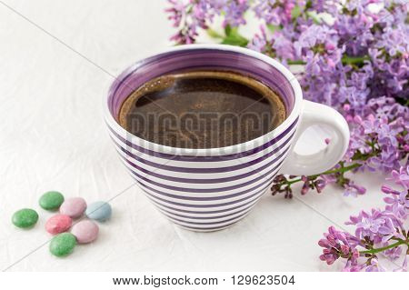 Cup Of Coffee And Spring Flowers