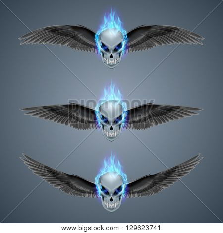 Set of mutant skulls with fangs blue flame and black wings