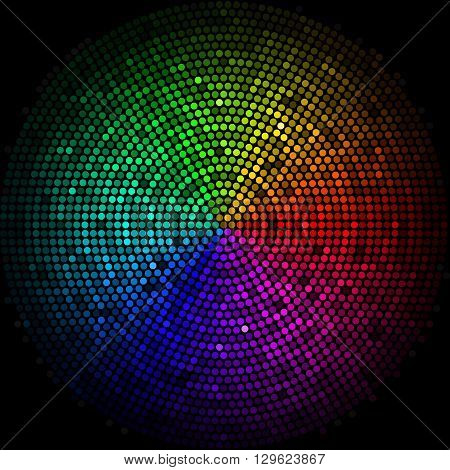 Multicolor dots digital in form circle on the black background