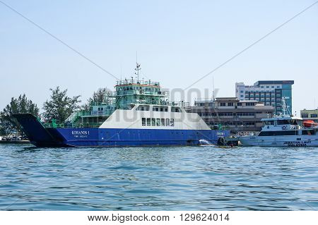 Labuan,Malaysia-Apr 7,2016:Kimanis 1 vehicle & passenger ferry ready to sail from Labuan Island to Menumbok. Long proposed bridge between the Sabah mainland & Labuan island still pending for outcome.
