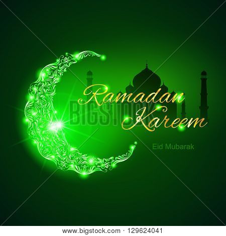Glowing ornate crescent with mosque and bright flare. Illustration in green shades. Greeting card of holy Muslim month Ramadan