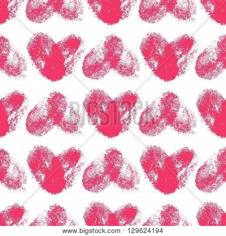 Seamless pattern with fingerprint hearts. Hand drawn heart shapes with rough edges. Trendy texture. Endless stylish backdrop. Pink thumbprint hearts on white background. Fabric, wallpaper, wrapping