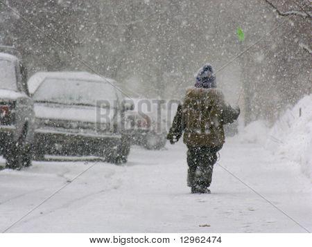 boy with flower snow car