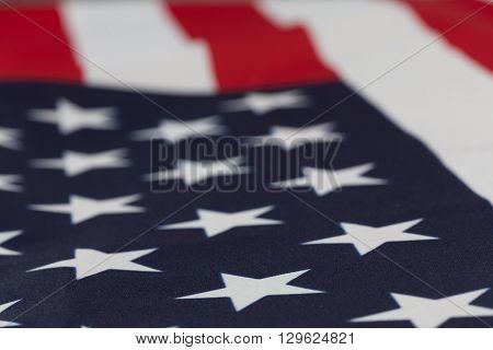Extreme Closeup On Stars Of Usa Flag