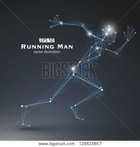 Running Man dots and lines connected together a sense of science and technology vector illustration.