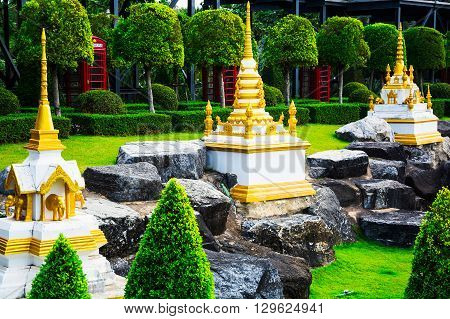 Chonburi, Thailand - March 18, 2016: Landscape Tropical Park In Nong Nooch Tropical Botanical Garden