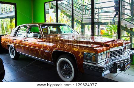 CHONBURI THAILAND - March 18 2016: Car Museum show in Nong Nooch Tropical Botanical Garden on March 18 2016. Selective focus