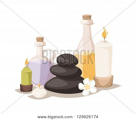 Spa symbols cartoon decorative icons. Set with bamboo towels, aroma candles isolated vector illustration spa symbols and body wellness spa symbols natural treatment element. Massage herbal concept.