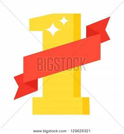 Flat design number one letter first place winner red ribbon and font symbol icon number one letter. Typography text sign number one letter and business shiny alphabet gold number one letter.
