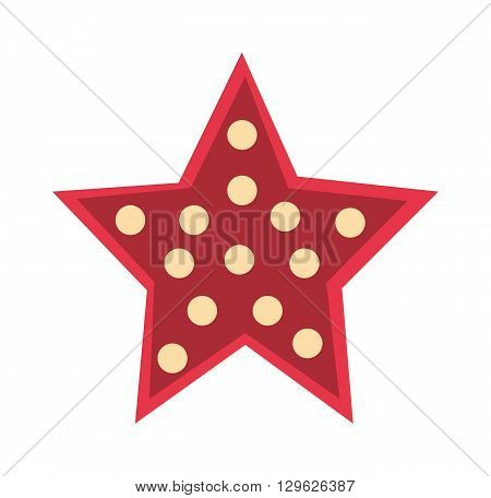 Red crystal star isolated on white background. Red star with bubbles and red star decoration design. Abstract design red star and award celebration red star color object. Red star decorative emblem.