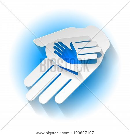 Helping hands in paper style. Symbol of help and teamwork