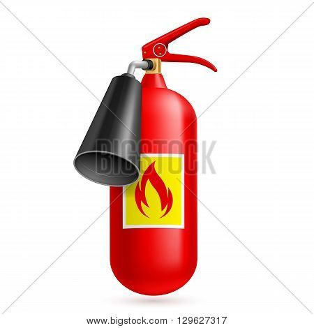 Illustration of fire extinguisher isolated on white background. Fire safety