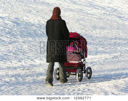 mother with baby carriage. winter