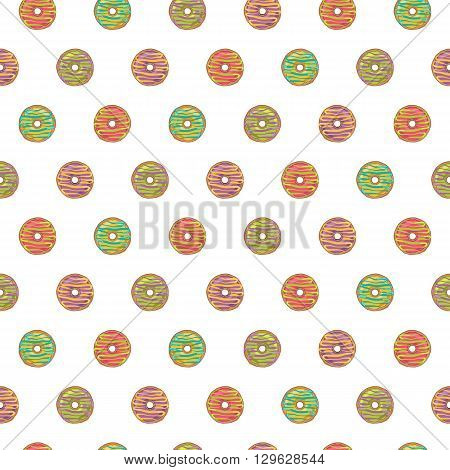 Seamless pattern of glazed donuts on a white background