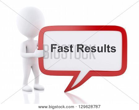 3d renderer image. White people with speech bubble that says Fast Results. Business concept. Isolated white background.
