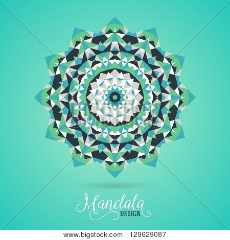 Vector ethnic colorful bohemian round ornament in bright green colors. Big abstract flower or mandala with stars, triangles. Geometric boho background with Arabic, Indian, Moroccan, Aztec motifs.