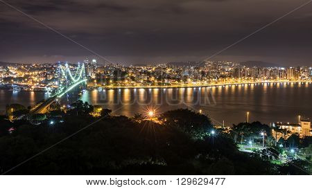 The Hercilio Luz Bridge At Night, Florianopolis, Brazil.