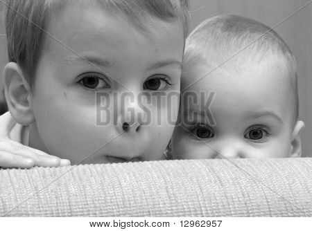 eyes. child with baby